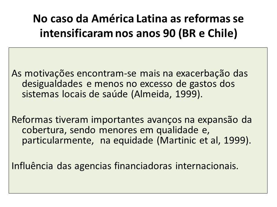 No caso da América Latina as reformas se intensificaram nos anos 90 (BR e Chile) As motivações encontram-se mais na exacerbação das desigualdades e me