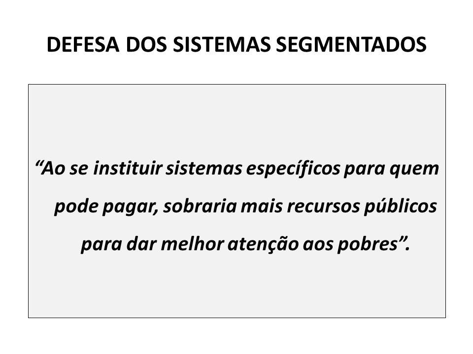 DEFESA DOS SISTEMAS SEGMENTADOS Ao se instituir sistemas específicos para quem pode pagar, sobraria mais recursos públicos para dar melhor atenção aos