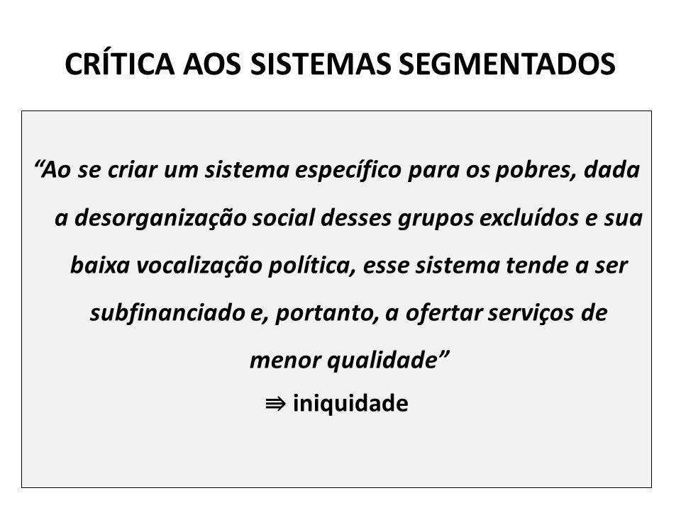 CRÍTICA AOS SISTEMAS SEGMENTADOS Ao se criar um sistema específico para os pobres, dada a desorganização social desses grupos excluídos e sua baixa vo