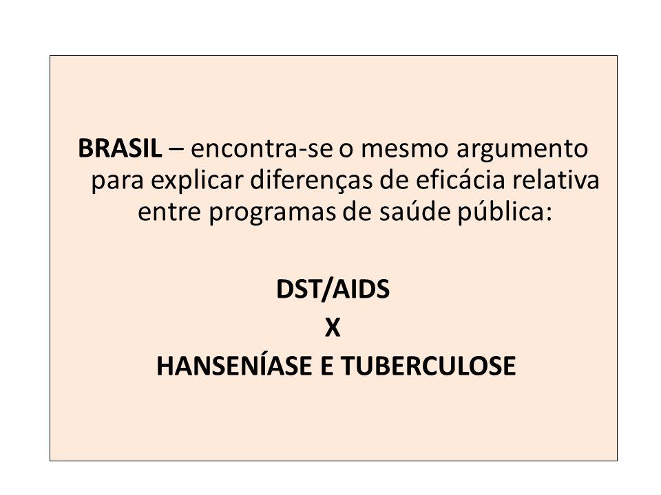 BRASIL – encontra-se o mesmo argumento para explicar diferenças de eficácia relativa entre programas de saúde pública: DST/AIDS X HANSENÍASE E TUBERCU
