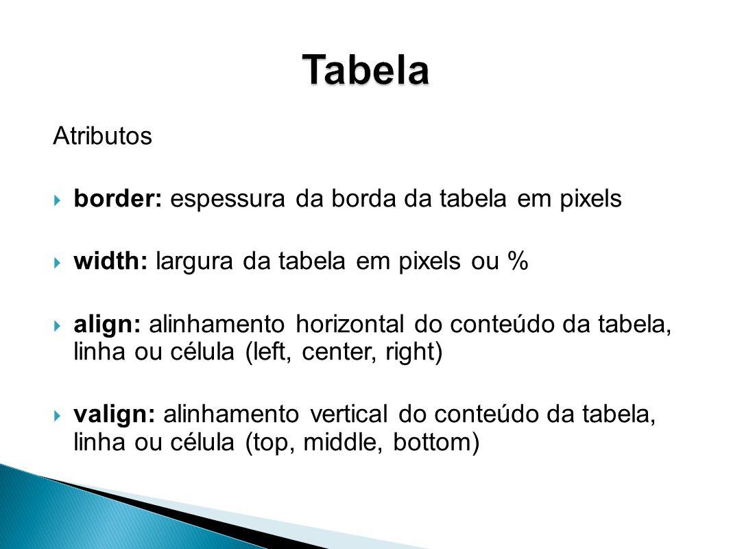 Atributos border: espessura da borda da tabela em pixels width: largura da tabela em pixels ou % align: alinhamento horizontal do conteúdo da tabela, linha ou célula (left, center, right) valign: alinhamento vertical do conteúdo da tabela, linha ou célula (top, middle, bottom)