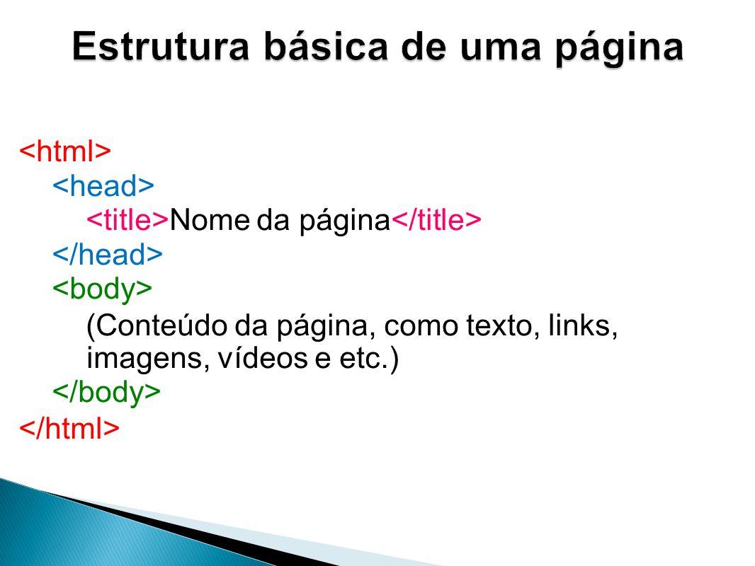 Lista ordenada A tag indica o início de uma lista ordenada, e cada item dessa lista é indicado pela tag Primeiro item Segundo item