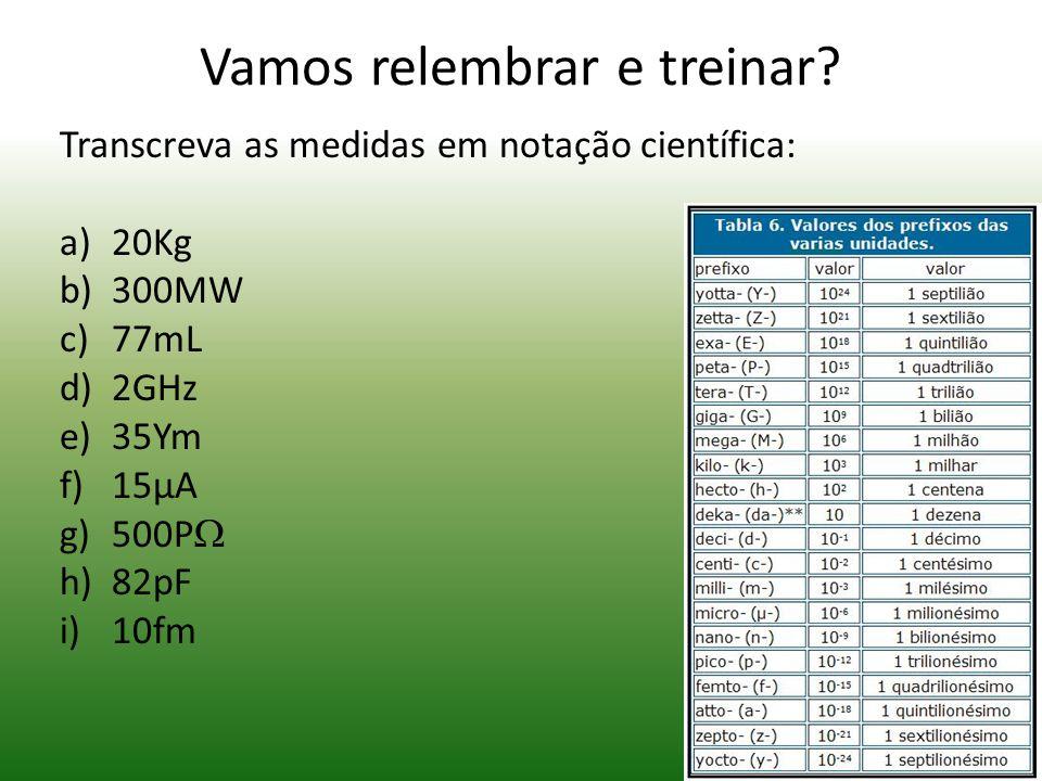 Prefixos Exemplos: Kg = Kilograma = 1000g (Mil gramas) *(Atenção: o grama) Gw = Gigawatts= 1000 000 000W (Um bilhãoo de Watts) µm = Micrômetro = 0,000
