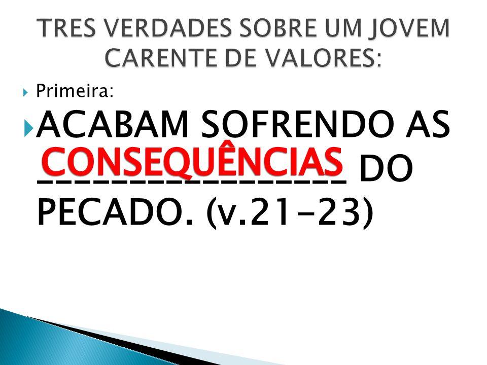 Primeira: ACABAM SOFRENDO AS _________________ DO PECADO. (v.21-23)