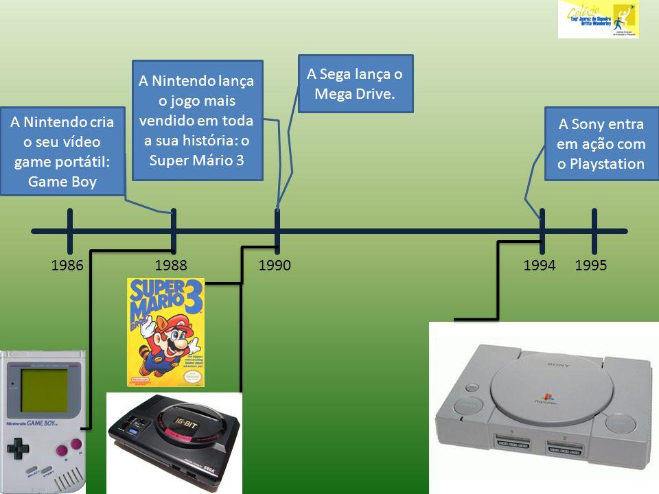198619951988 A Nintendo cria o seu vídeo game portátil: Game Boy A Nintendo lança o jogo mais vendido em toda a sua história: o Super Mário 3 1990 A S
