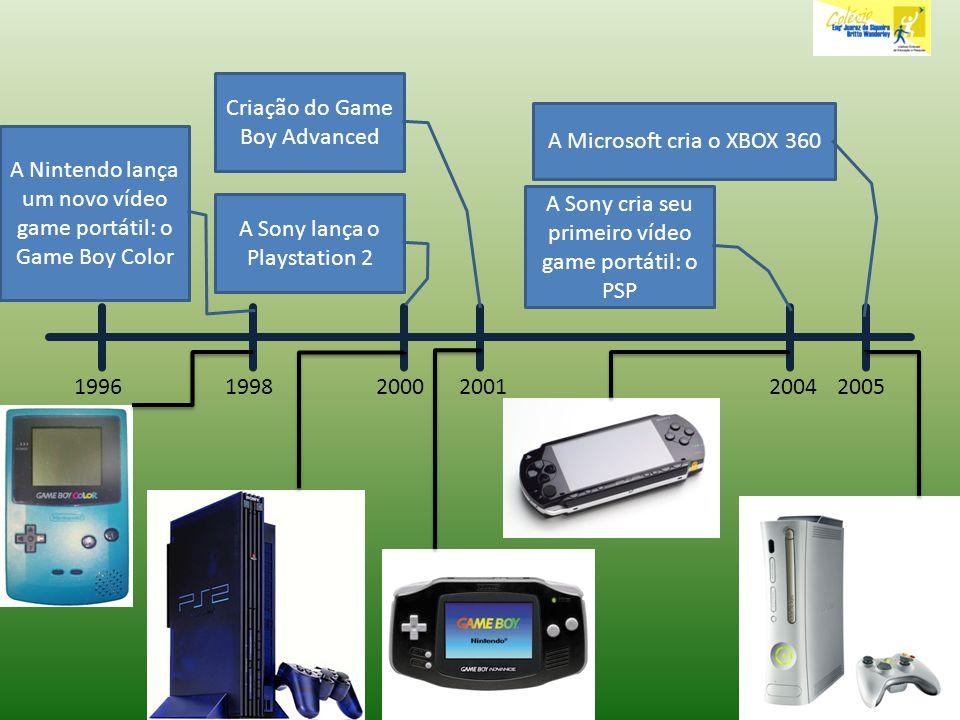 199620051998 A Nintendo lança um novo vídeo game portátil: o Game Boy Color 2000 A Sony lança o Playstation 2 2001 Criação do Game Boy Advanced 2004 A