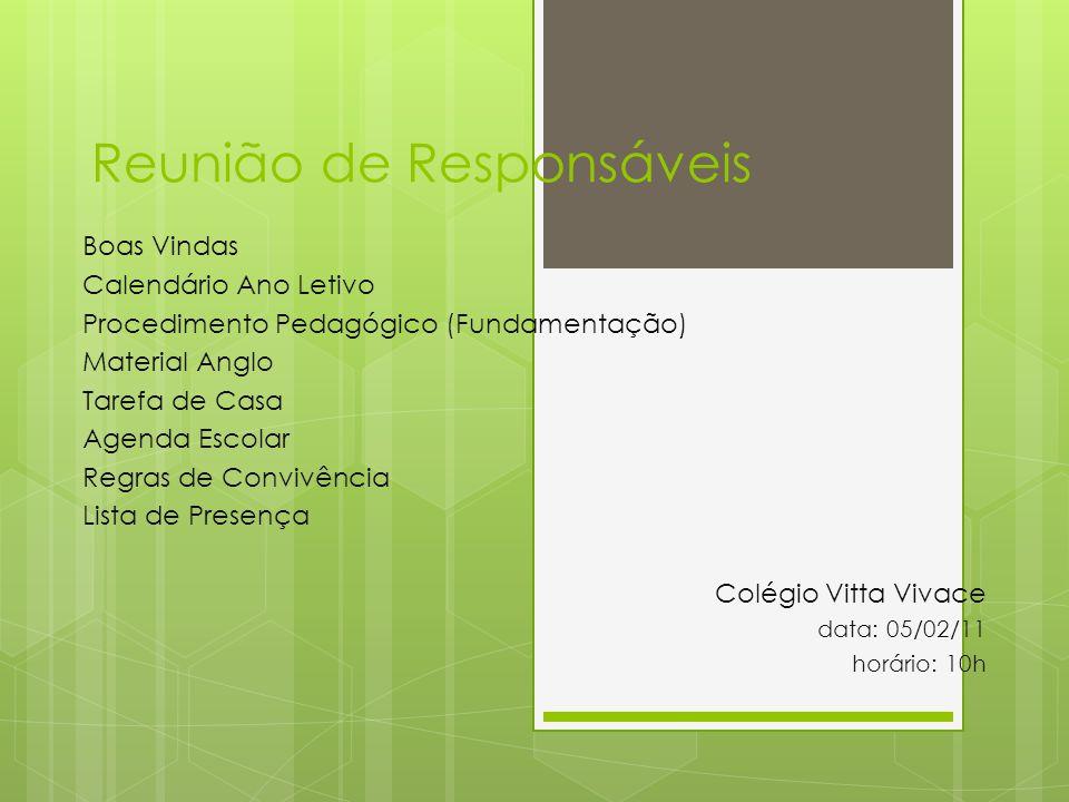 Reunião de Responsáveis Boas Vindas Calendário Ano Letivo Procedimento Pedagógico (Fundamentação) Material Anglo Tarefa de Casa Agenda Escolar Regras