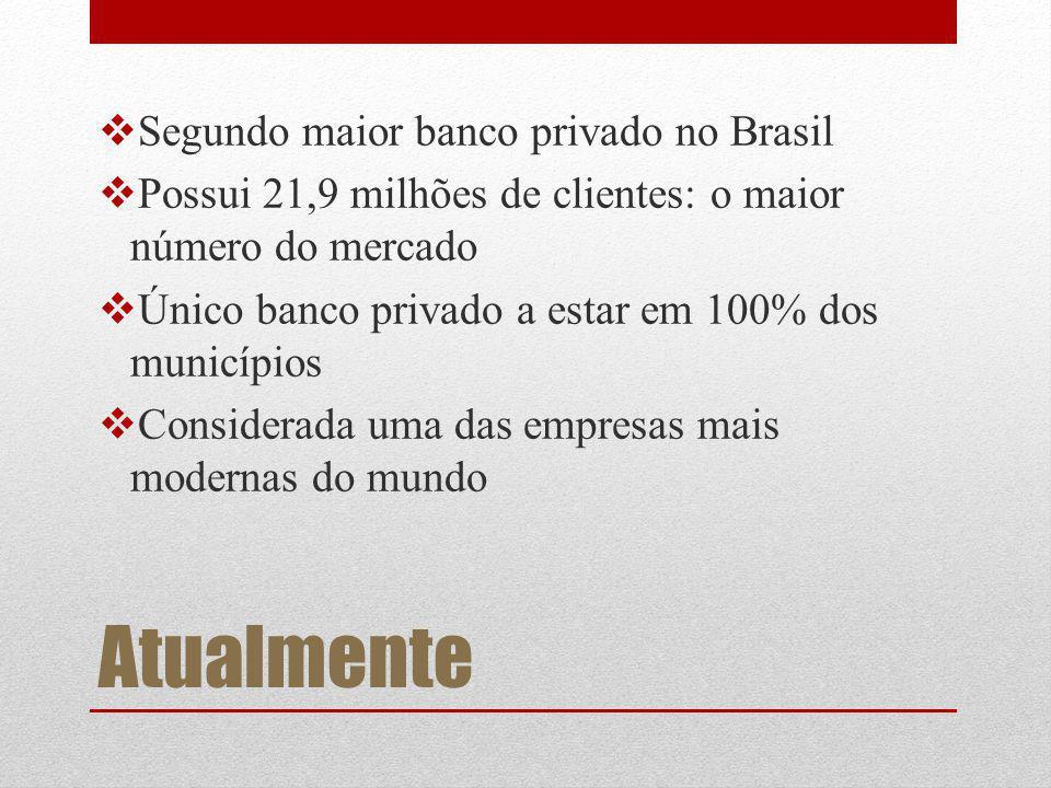 Atualmente Segundo maior banco privado no Brasil Possui 21,9 milhões de clientes: o maior número do mercado Único banco privado a estar em 100% dos municípios Considerada uma das empresas mais modernas do mundo