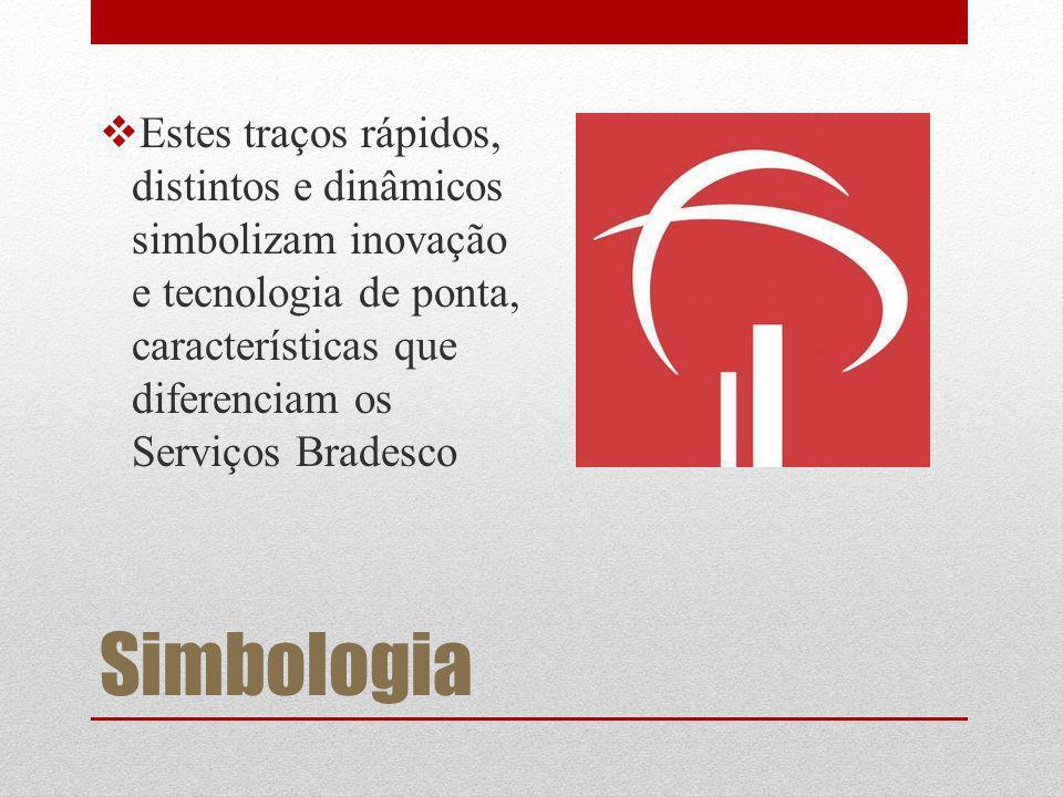 Simbologia Estes traços rápidos, distintos e dinâmicos simbolizam inovação e tecnologia de ponta, características que diferenciam os Serviços Bradesco