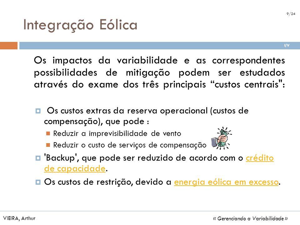 Integração Eólica VIEIRA, Arthur « Gerenciando a Variabilidade » Os impactos da variabilidade e as correspondentes possibilidades de mitigação podem s