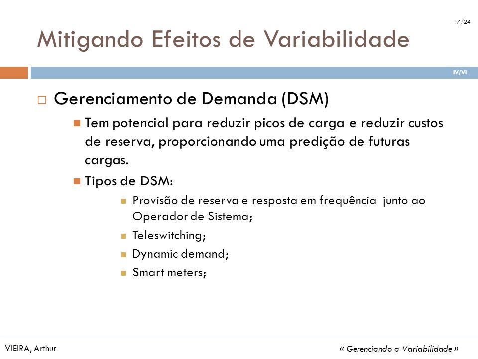 Mitigando Efeitos de Variabilidade Gerenciamento de Demanda (DSM) Tem potencial para reduzir picos de carga e reduzir custos de reserva, proporcionand