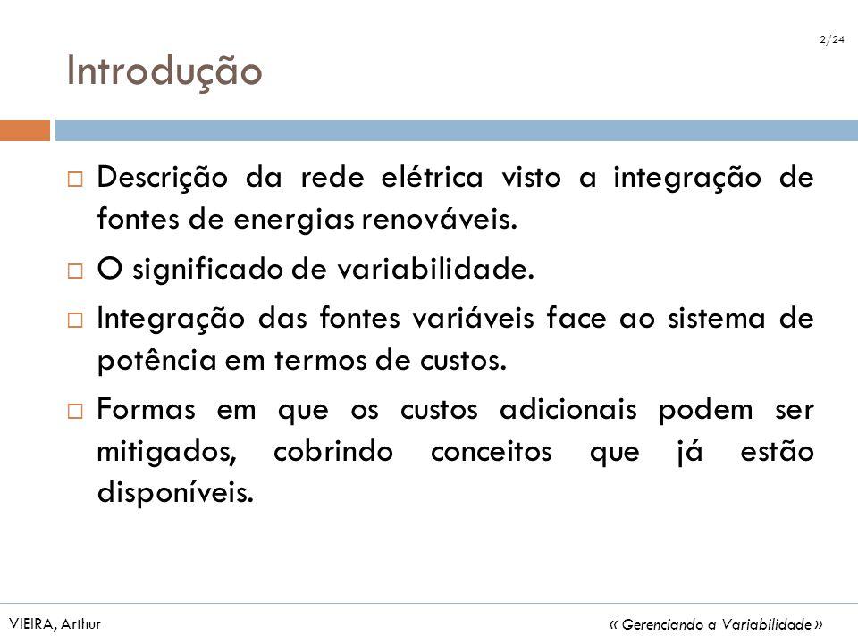 Introdução Descrição da rede elétrica visto a integração de fontes de energias renováveis. O significado de variabilidade. Integração das fontes variá