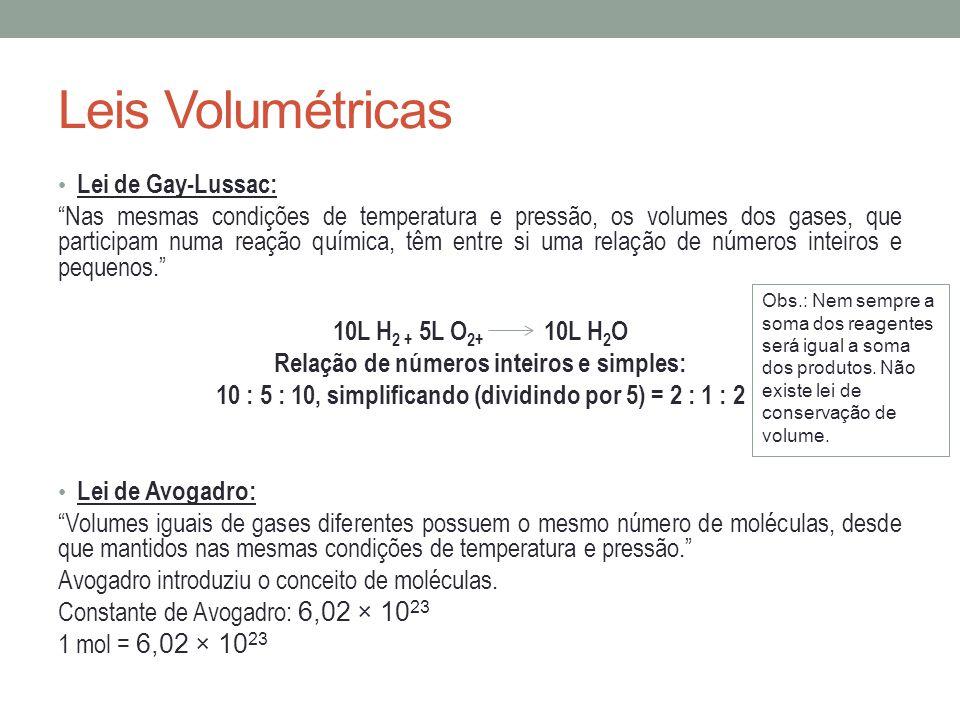 Leis Volumétricas Lei de Gay-Lussac: Nas mesmas condições de temperatura e pressão, os volumes dos gases, que participam numa reação química, têm entr
