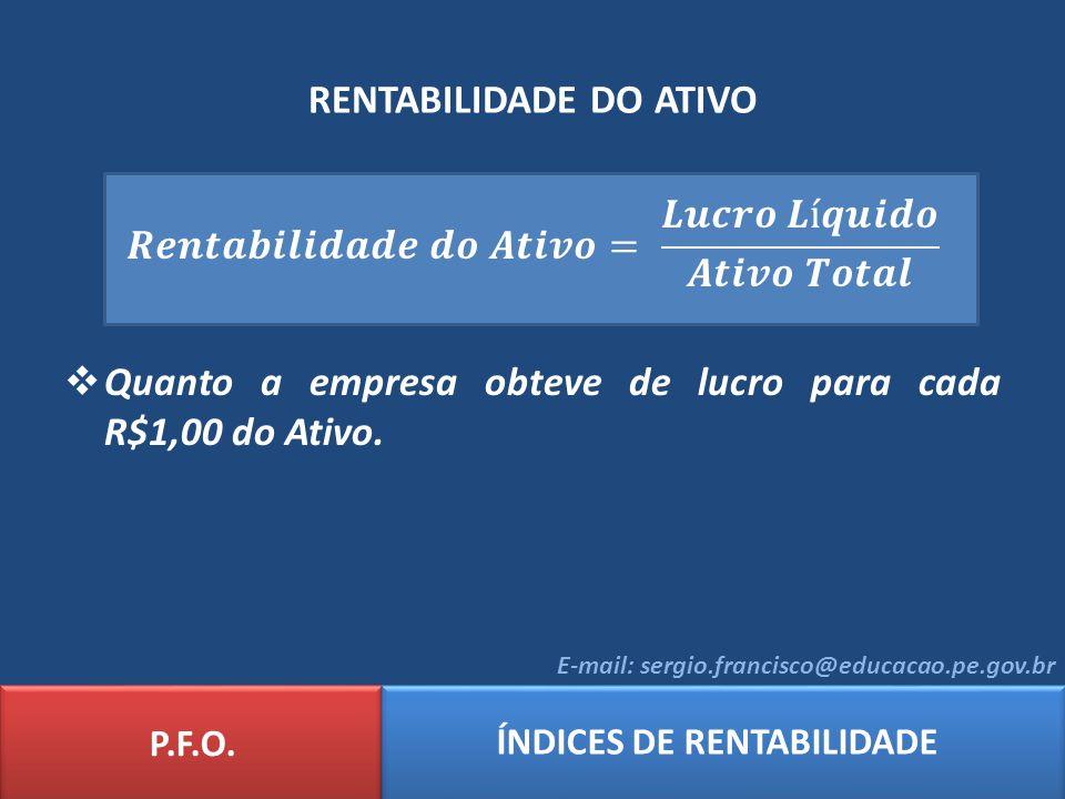 RENTABILIDADE DO ATIVO P.F.O. ÍNDICES DE RENTABILIDADE E-mail: sergio.francisco@educacao.pe.gov.br