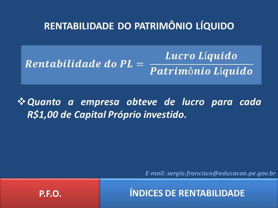 RENTABILIDADE DO PATRIMÔNIO LÍQUIDO P.F.O. ÍNDICES DE RENTABILIDADE E-mail: sergio.francisco@educacao.pe.gov.br
