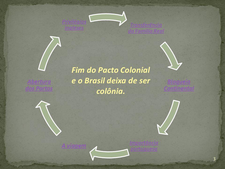 Transferência da Família Real Bloqueio Continental Importância portuguesa A viagem Abertura dos Portos Privilégios ingleses Fim do Pacto Colonial e o