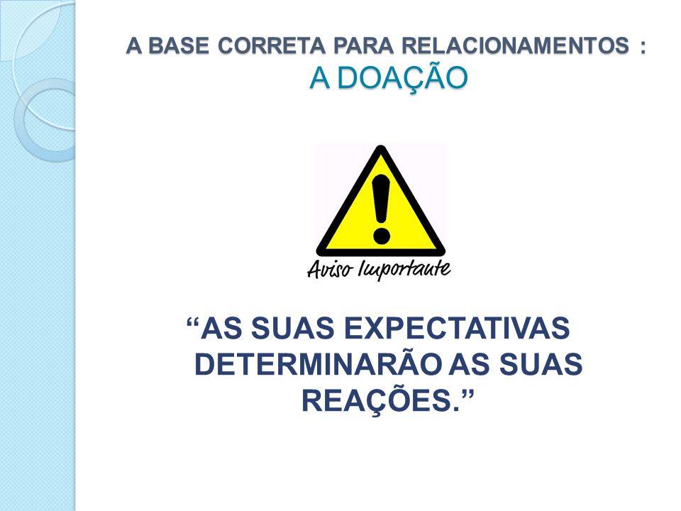 A BASE CORRETA PARA RELACIONAMENTOS : A DOAÇÃO AS SUAS EXPECTATIVAS DETERMINARÃO AS SUAS REAÇÕES.