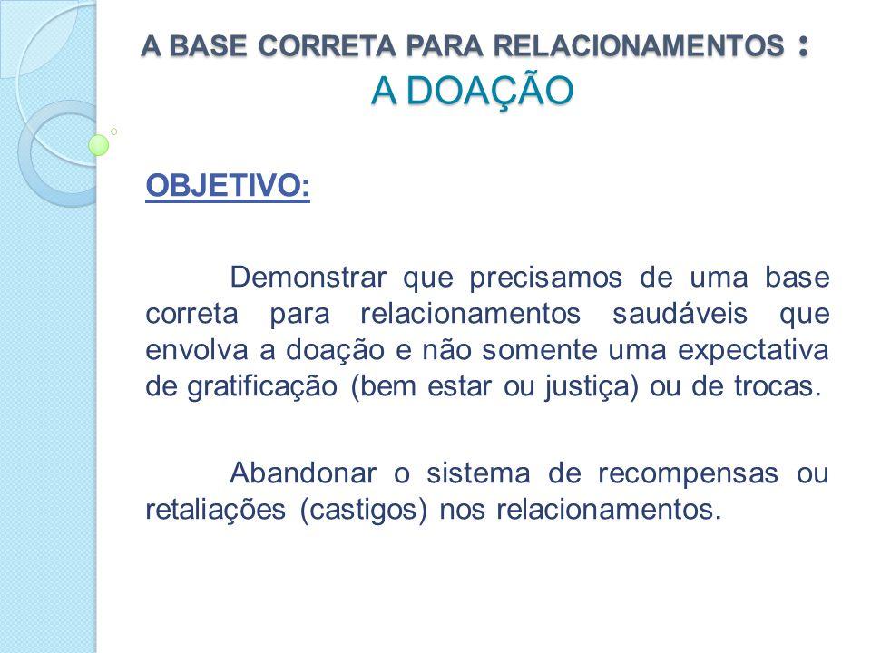 A BASE CORRETA PARA RELACIONAMENTOS : A DOAÇÃO INTRODUÇÃO: Existem dois tipos principais de bases para relacionamentos, estruturas nas quais eles se apóiam: BASE DE INTERESSE BASE DE DOAÇÃO