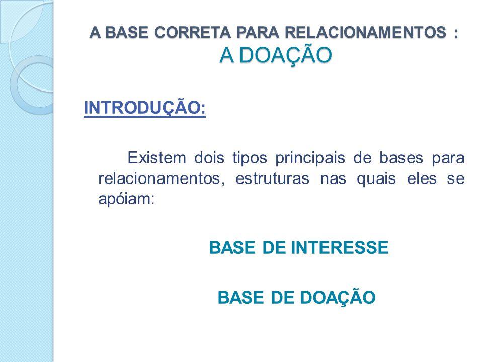 A BASE CORRETA PARA RELACIONAMENTOS : A DOAÇÃO ENTÃO....