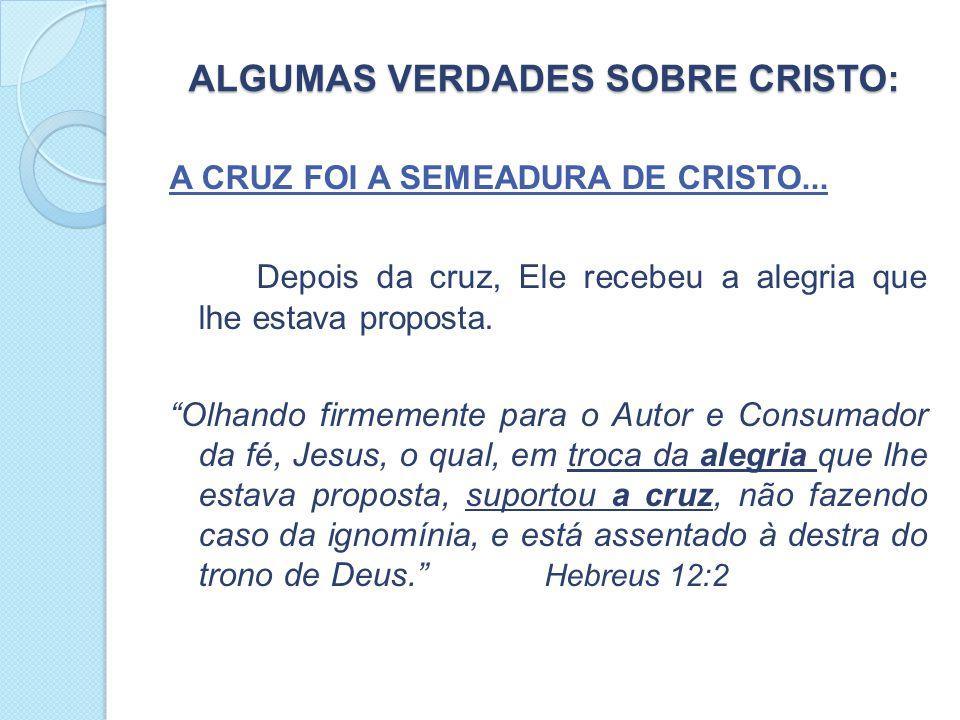 ALGUMAS VERDADES SOBRE CRISTO: ALGUMAS VERDADES SOBRE CRISTO: A CRUZ FOI A SEMEADURA DE CRISTO...