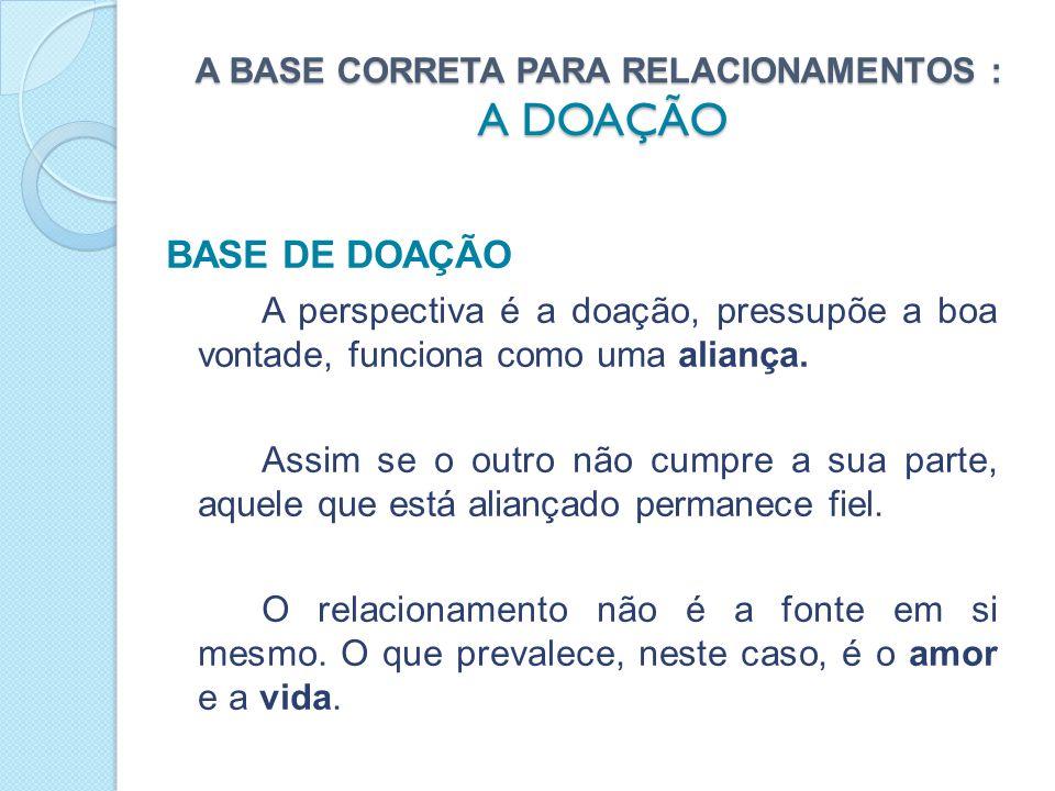 A BASE CORRETA PARA RELACIONAMENTOS : A DOAÇÃO PORTANTO: Na primeira base se não há recompensa, lucro ou pelo menos uma troca, o relacionamento tende para a extinção, como acontece em um relacionamento comercial.