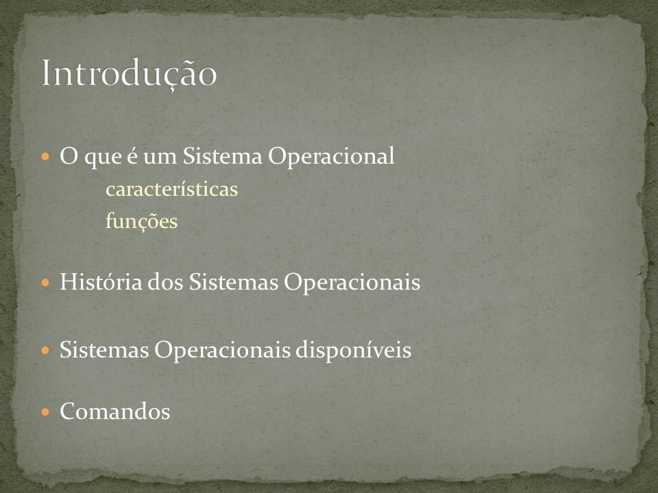 O que é um Sistema Operacional características funções História dos Sistemas Operacionais Sistemas Operacionais disponíveis Comandos
