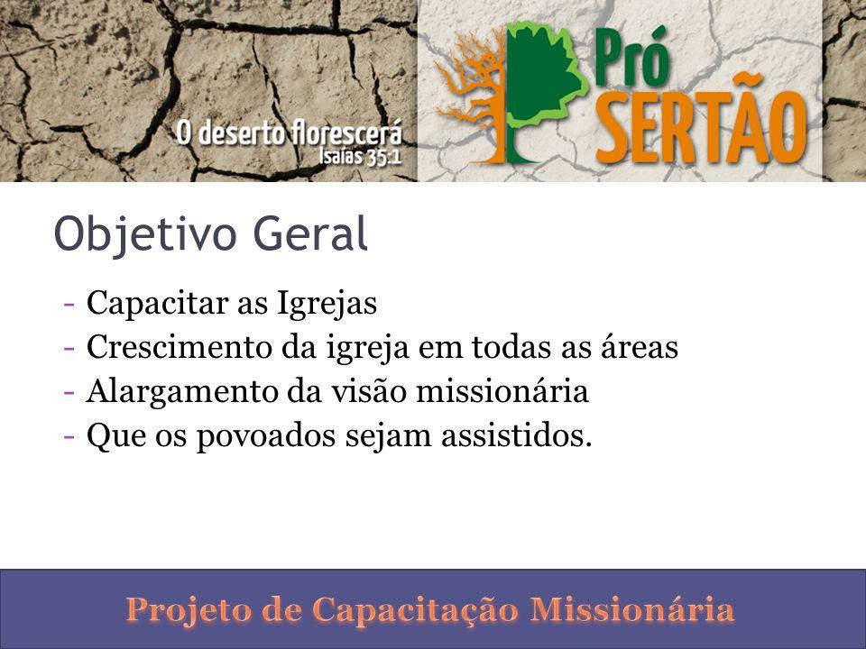Objetivo Geral -Capacitar as Igrejas -Crescimento da igreja em todas as áreas -Alargamento da visão missionária -Que os povoados sejam assistidos.