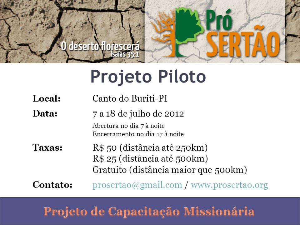 Projeto Piloto Local:Canto do Buriti-PI Data:7 a 18 de julho de 2012 Abertura no dia 7 à noite Encerramento no dia 17 à noite Taxas:R$ 50 (distância a