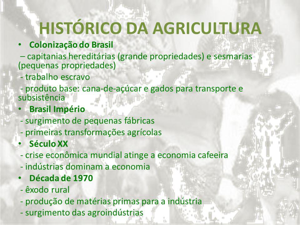 HISTÓRICO DA AGRICULTURA Colonização do Brasil – capitanias hereditárias (grande propriedades) e sesmarias (pequenas propriedades) - trabalho escravo