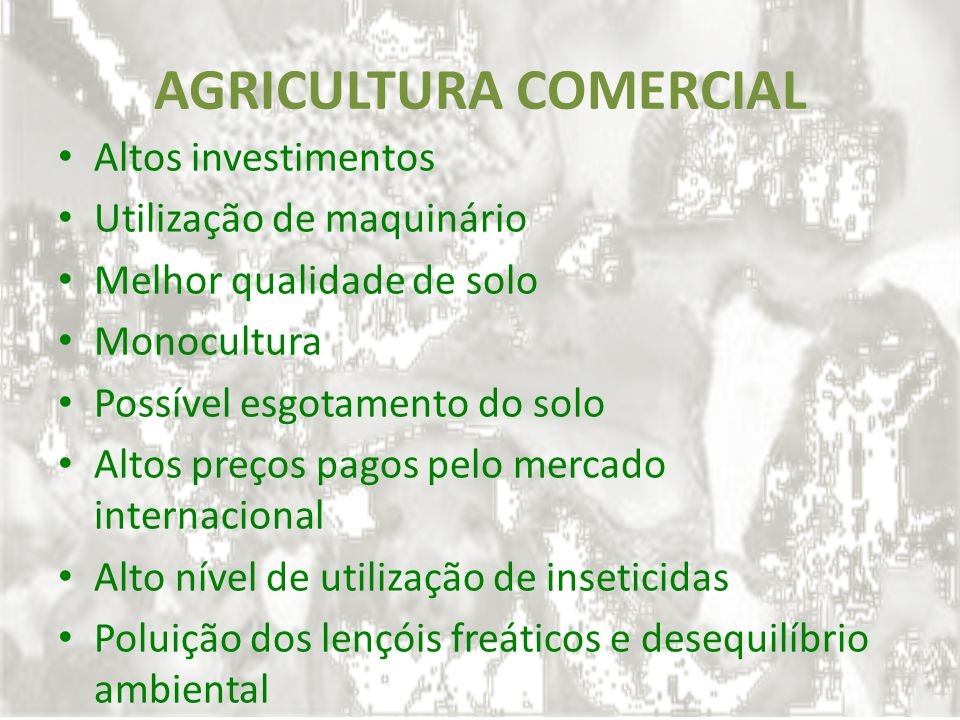 AGRICULTURA COMERCIAL Altos investimentos Utilização de maquinário Melhor qualidade de solo Monocultura Possível esgotamento do solo Altos preços pago