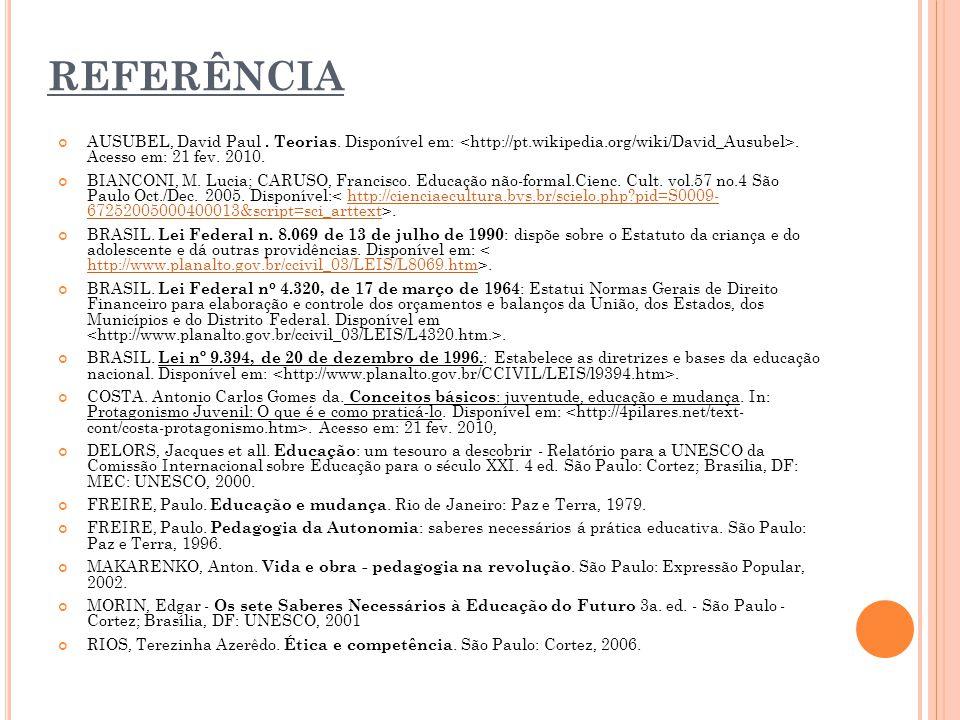 REFERÊNCIA AUSUBEL, David Paul. Teorias. Disponível em:. Acesso em: 21 fev. 2010. BIANCONI, M. Lucia; CARUSO, Francisco. Educação não-formal.Cienc. Cu