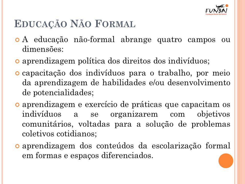 E DUCAÇÃO N ÃO F ORMAL A educação não-formal abrange quatro campos ou dimensões: aprendizagem política dos direitos dos indivíduos; capacitação dos in