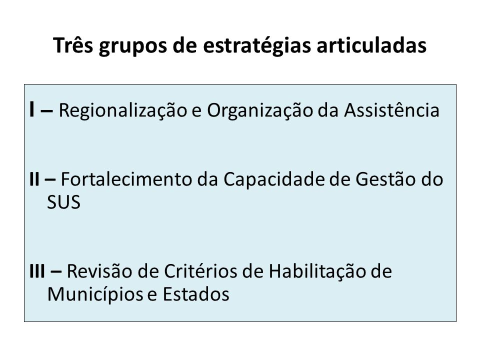 Três grupos de estratégias articuladas I – Regionalização e Organização da Assistência II – Fortalecimento da Capacidade de Gestão do SUS III – Revisã