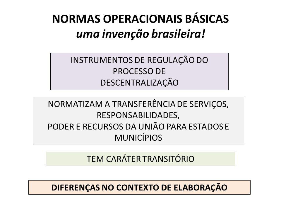 NORMAS OPERACIONAIS BÁSICAS uma invenção brasileira! INSTRUMENTOS DE REGULAÇÃO DO PROCESSO DE DESCENTRALIZAÇÃO NORMATIZAM A TRANSFERÊNCIA DE SERVIÇOS,