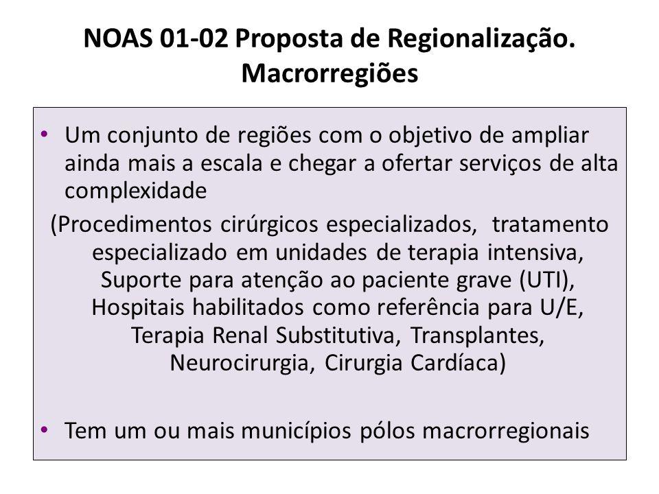NOAS 01-02 Proposta de Regionalização. Macrorregiões Um conjunto de regiões com o objetivo de ampliar ainda mais a escala e chegar a ofertar serviços
