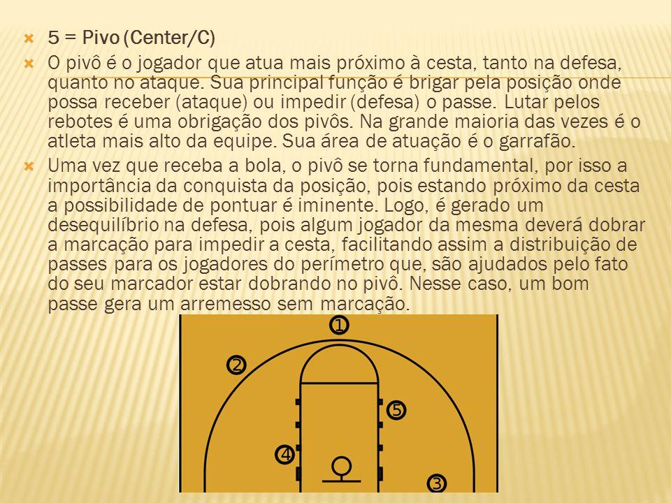 5 = Pivo (Center/C) O pivô é o jogador que atua mais próximo à cesta, tanto na defesa, quanto no ataque. Sua principal função é brigar pela posição on