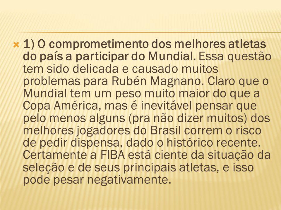 1) O comprometimento dos melhores atletas do país a participar do Mundial. Essa questão tem sido delicada e causado muitos problemas para Rubén Magnan