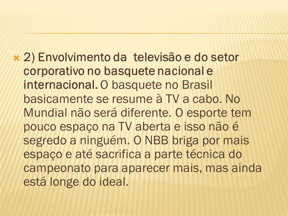 2) Envolvimento da televisão e do setor corporativo no basquete nacional e internacional. O basquete no Brasil basicamente se resume à TV a cabo. No M