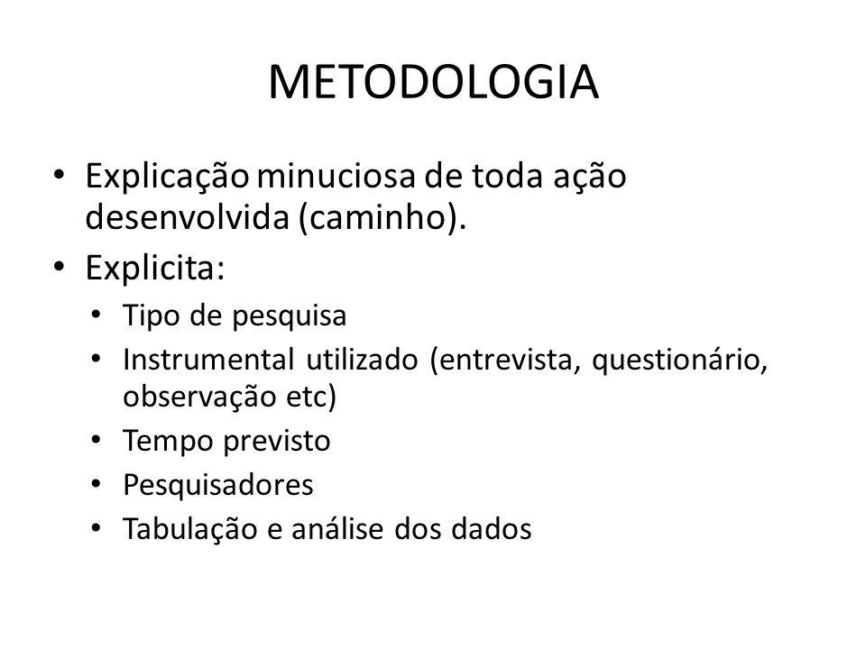 METODOLOGIA Explicação minuciosa de toda ação desenvolvida (caminho). Explicita: Tipo de pesquisa Instrumental utilizado (entrevista, questionário, ob