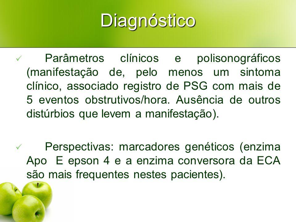 Diagnóstico Parâmetros clínicos e polisonográficos (manifestação de, pelo menos um sintoma clínico, associado registro de PSG com mais de 5 eventos obstrutivos/hora.