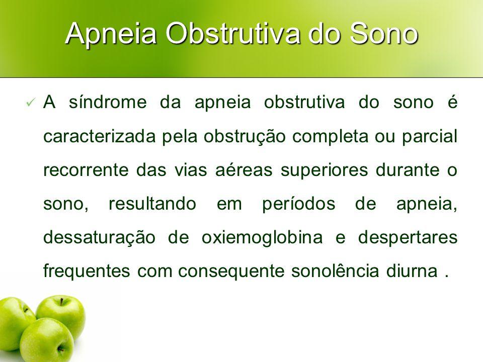 Apneia Obstrutiva do Sono A síndrome da apneia obstrutiva do sono é caracterizada pela obstrução completa ou parcial recorrente das vias aéreas superiores durante o sono, resultando em períodos de apneia, dessaturação de oxiemoglobina e despertares frequentes com consequente sonolência diurna.