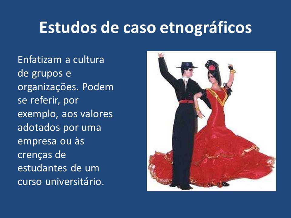 Estudos de caso etnográficos Enfatizam a cultura de grupos e organizações. Podem se referir, por exemplo, aos valores adotados por uma empresa ou às c