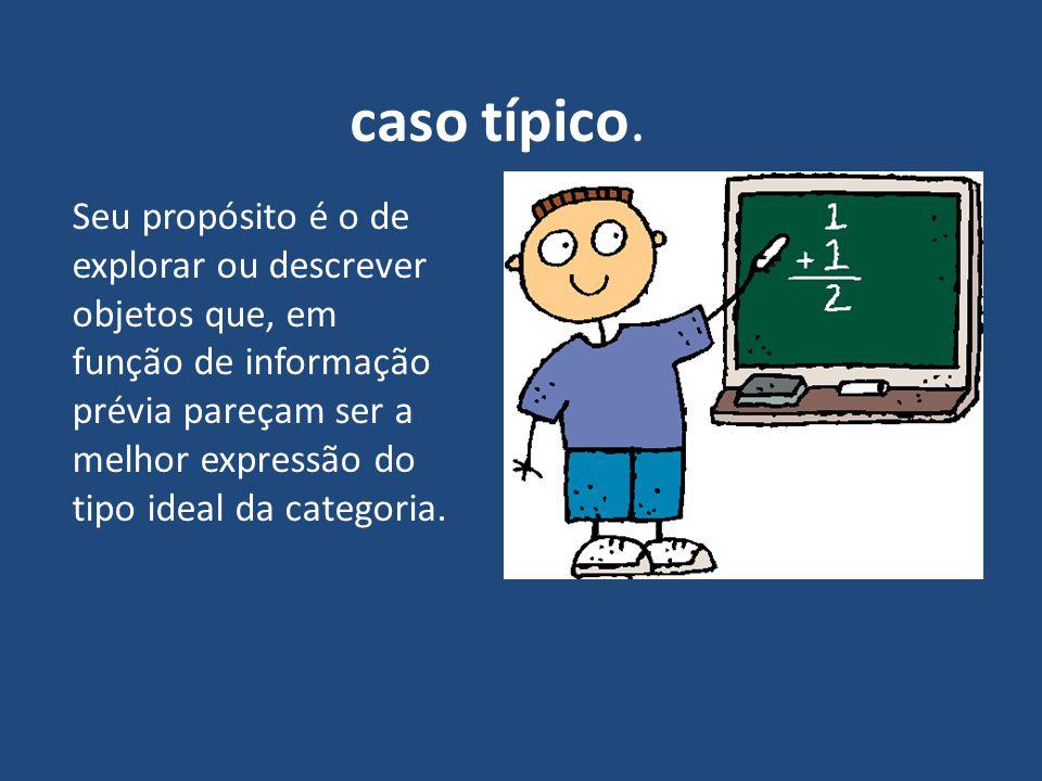 caso típico. Seu propósito é o de explorar ou descrever objetos que, em função de informação prévia pareçam ser a melhor expressão do tipo ideal da ca