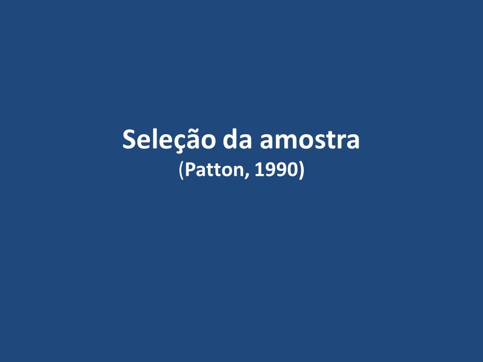 Seleção da amostra (Patton, 1990)