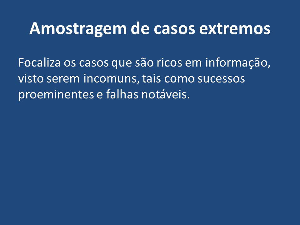 Amostragem de casos extremos Focaliza os casos que são ricos em informação, visto serem incomuns, tais como sucessos proeminentes e falhas notáveis.