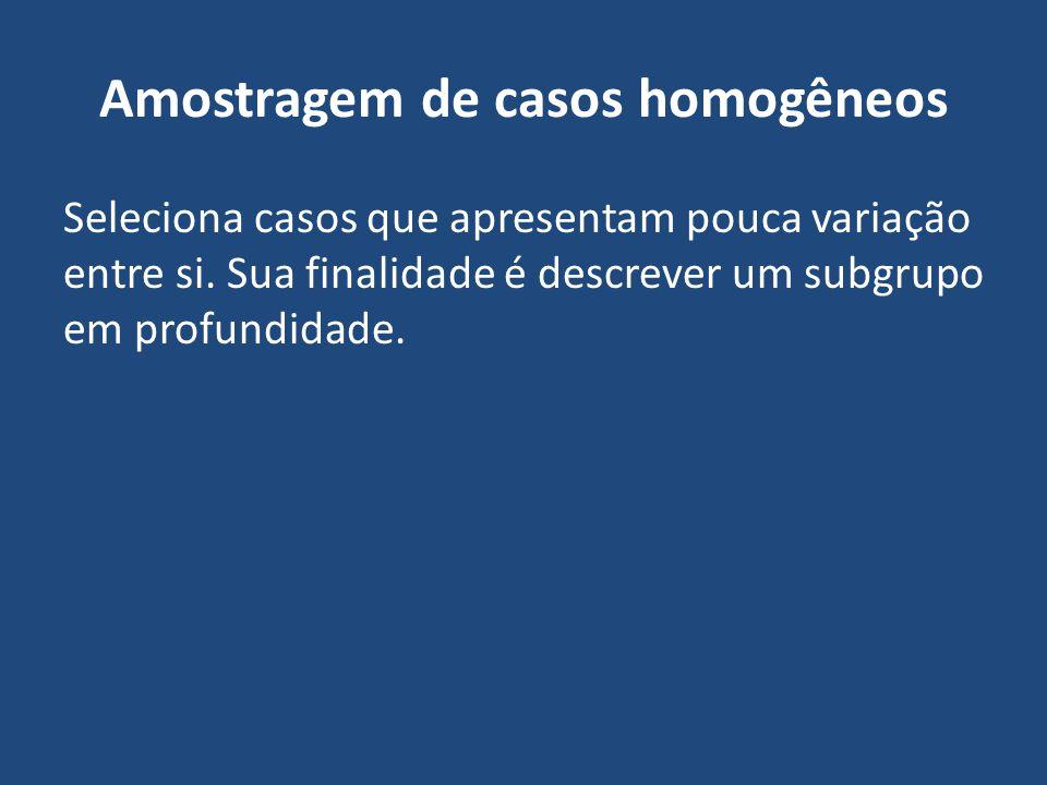 Amostragem de casos homogêneos Seleciona casos que apresentam pouca variação entre si. Sua finalidade é descrever um subgrupo em profundidade.