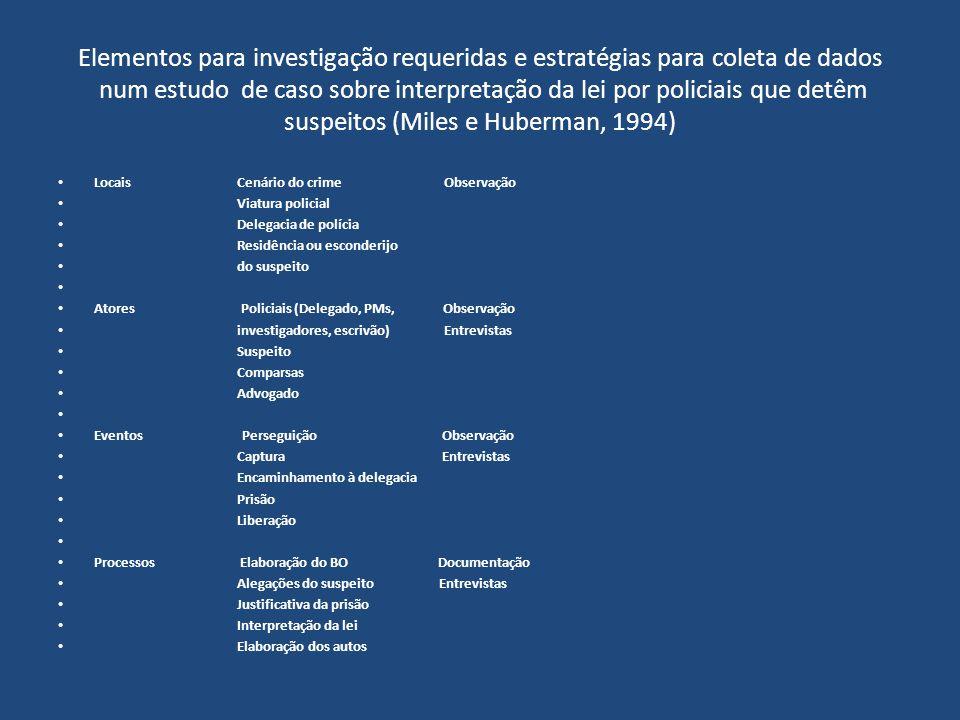 Elementos para investigação requeridas e estratégias para coleta de dados num estudo de caso sobre interpretação da lei por policiais que detêm suspei