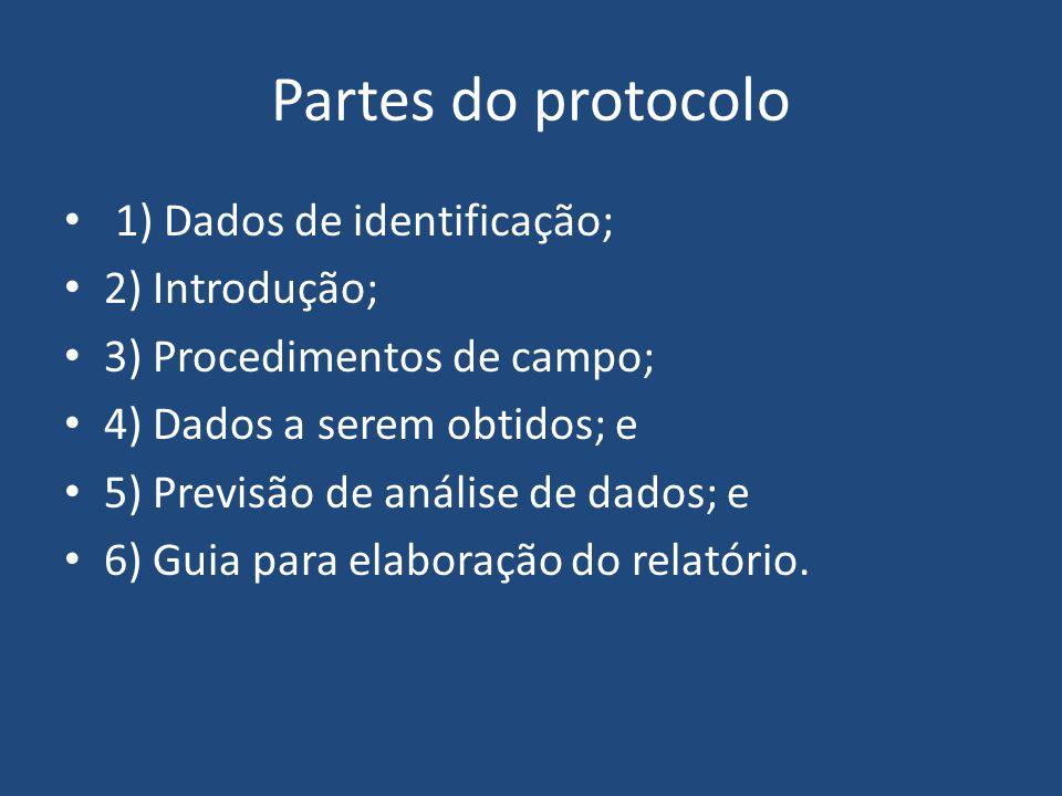 Partes do protocolo 1) Dados de identificação; 2) Introdução; 3) Procedimentos de campo; 4) Dados a serem obtidos; e 5) Previsão de análise de dados;