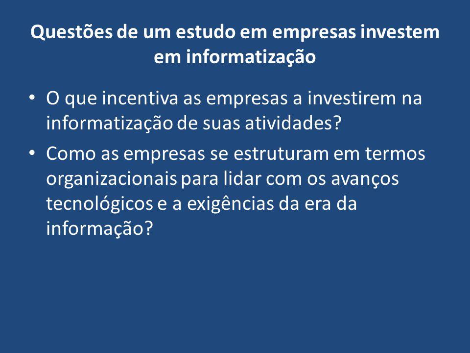 Questões de um estudo em empresas investem em informatização O que incentiva as empresas a investirem na informatização de suas atividades? Como as em