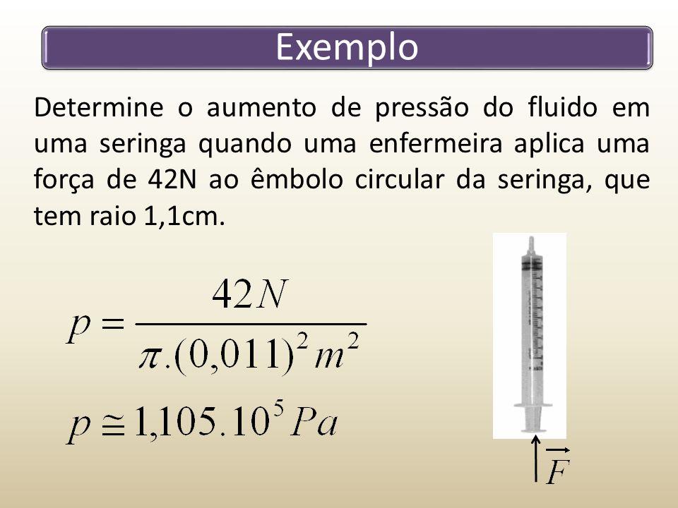 Exemplo Determine o aumento de pressão do fluido em uma seringa quando uma enfermeira aplica uma força de 42N ao êmbolo circular da seringa, que tem r